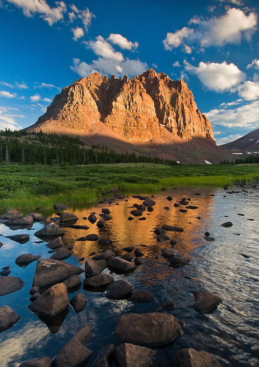Sunset light on Red Castle Peak, Uinta Mountains, Utah