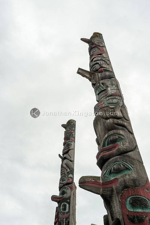 Tlingit totem poles in Petersburg, Alaska.