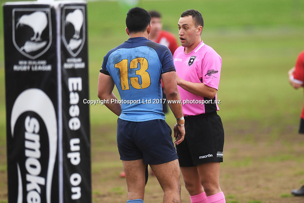 Referee speaks to Javvier Pitovao, Mt Albert Grammar v Westlake Boys, NZRL National Secondary Schools Rugby League Championships, Day 3. Bruce Pulman Park, Auckland. 6 September 2017. Copyright Image: Andrew Cornaga / www.photosport.nz