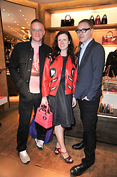Left to right, GILES DEACON, KATIE GRAND and STUART VEVERS Creative Director of Loewe at the opening of Loewe's new boutique at 125 Mount Street, London on 23rd March 2011.