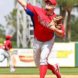 March 9, 2011; Lakeland, FL, USA; Philadelphia Phillies starting pitcher Joe Blanton (56) during a spring training exhibition game against the Detroit Tigers at Joker Marchant Stadium.   Mandatory Credit: Derick E. Hingle