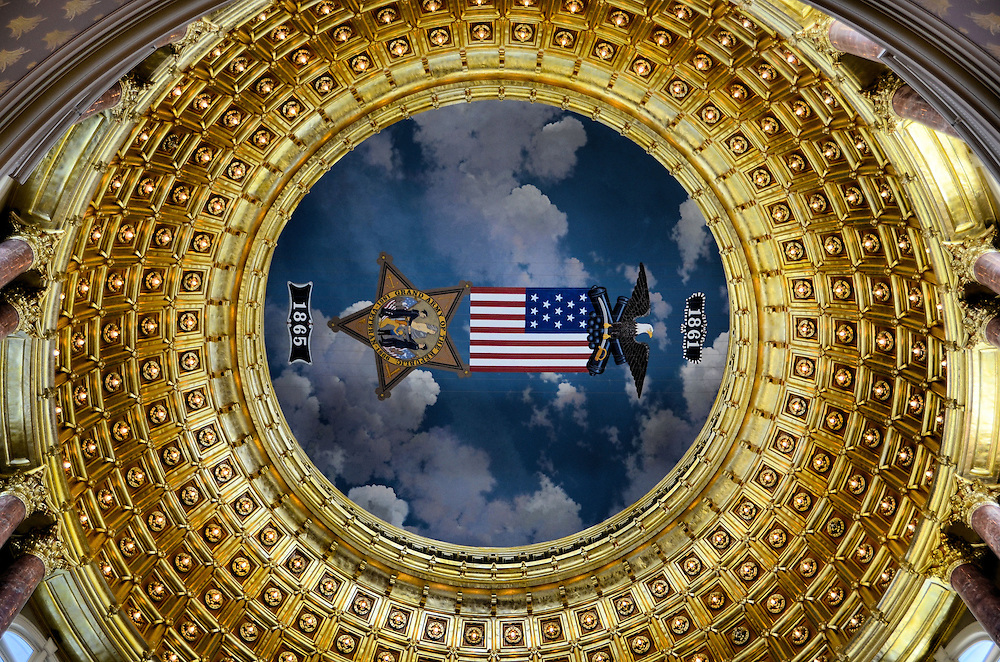 Iowa State Capitol Rotunda Dome in Des Moines, Iowa  <br />