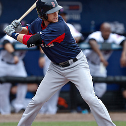 March 6, 2011; Port St. Lucie, FL, USA; Boston Red Sox second baseman Jed Lowrie (12) during a spring training exhibition game against the New York Mets at Digital Domain Park.  Mandatory Credit: Derick E. Hingle