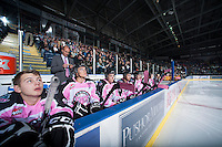 KELOWNA, CANADA - OCTOBER 20:  The Kelowna Rockets bench on Pink Power Play night for Breast Cancer against the  Brandon Wheat Kings at the Kelowna Rockets on October 20, 2012 at Prospera Place in Kelowna, British Columbia, Canada (Photo by Marissa Baecker/Shoot the Breeze) *** Local Caption ***