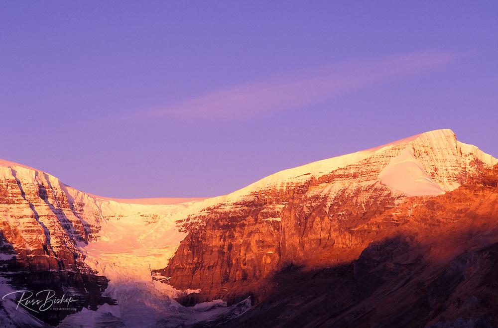 Dawn light on Mount Snowdome and the Dome Glacier, Columbia Icefields area, Jasper National Park, Alberta, Canada