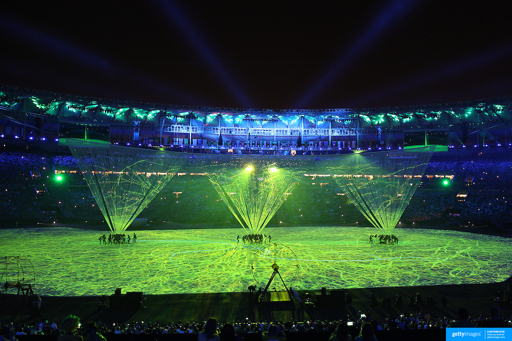 Opening Ceremony 2016 Olympic Games: The spectacular opening ceremony for the 2016 Olympic Games at Maracana Stadium on August 5, 2016 in Rio de Janeiro, Brazil. (Photo by Tim Clayton/Corbis via Getty Images)