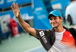 Blaz Rola of Slovenia celebrates after winning in 3rd Round of ATP Challenger Zavarovalnica Sava Slovenia Open 2019, day 7, on August 15, 2019 in Sports centre, Portoroz/Portorose, Slovenia. Photo by Matic Klansek Velej  / Sportida