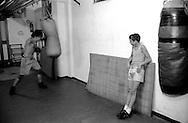 Roma  .Il pugile Davide Ciarlante si allena al sacco nella Palestra Boxe Casal Bruciato..