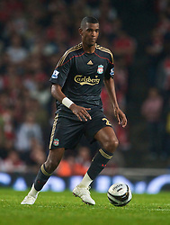 LONDON, ENGLAND - Wednesday, October 28, 2009: Liverpool's Damien Plessis in action against Arsenal during the League Cup 4th Round match at Emirates Stadium. (Photo by David Rawcliffe/Propaganda)