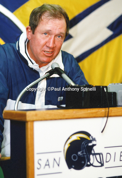San Diego Charger head coach Bobby Ross does a postgame interview after the NFL AFC Wild Card playoff football game against the Kansas City Chiefs on Jan. 2, 1993 in San Diego. The Chargers won the game in a 17-0 shutout. (©Paul Anthony Spinelli)