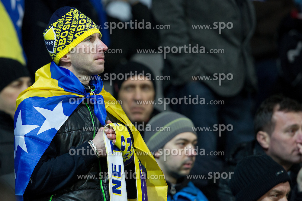 Fan of of Bosnia and Herzegovina during friendly football match between National teams of Slovenia and Bosnia and Herzegovina, on February 6, 2013 in SRC Stozice, Ljubljana, Slovenia. (Photo By Matic Klansek Velej / Sportida.com)