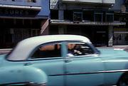 Blue 1950's American car in the street, Cuba