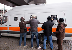 © Licensed to London News Pictures. 04/04/2013.Nottingham, UK. Photographers mob the prison van at Nottingham crown Court which brought Mairead Philpott to receive her sentence today. The last day of the Philpott fire hearing. Three individuals, Mairead Philpott, Michael Philpott and Paul Mosley are sentenced for manslaughter of 6 children in Derby 2012 at Nottingham Crown Court. sentencing was postponed until 10:30am today (Thursday 4th April 2013)   .   Photo credit : Tom Maddick/LNP