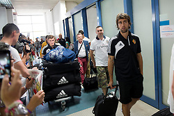 20.08.2013, Sofia, BUL, UEFA CL Play off, PFC Ludogorez Razgrad vs FC Basel, Ankunft FC Basel in Sofia, im Bild Taulant Xhaka und Matias Delgado bei der Ankunft im Flughafen // during departure FC Basel to the UEFA Champions League Play off Match between PFC Ludogorez Razgrad vs FC Basel in Sofia, Bulgaria on 2013/08/20. EXPA Pictures © 2013, PhotoCredit: EXPA/ Freshfocus/ Andy Mueller<br /> <br /> ***** ATTENTION - for AUT, SLO, CRO, SRB, BIH only *****