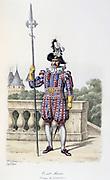 Pikeman from the Swiss company of the Royal Guard  in ceremonial dress, 1814-1817. From 'Histoire de la maison militaire du Roi de 1814 a 1830' by Eugene Titeux, Paris, 1890.