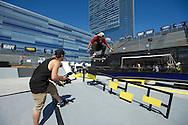Felipe Gustavo during Street League Skate Practice at 2013 X Games Los Angeles in Los Angeles, CA. ©Brett Wilhelm/ESPN
