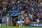 Everton midfielder James McCarthy and Everton midfielder Tom Cleverley celebrate Chris Smalling of Manchester United own goal during the The FA Cup semi final match between Everton and Manchester United at Wembley Stadium, London, England on 23 April 2016. Photo by Phil Duncan.