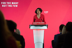 London, UK. 19 November, 2019. Chi Onwurah, Labour candidate for Newcastle Central, introduces a major speech on the economy by Shadow Chancellor John McDonnell.