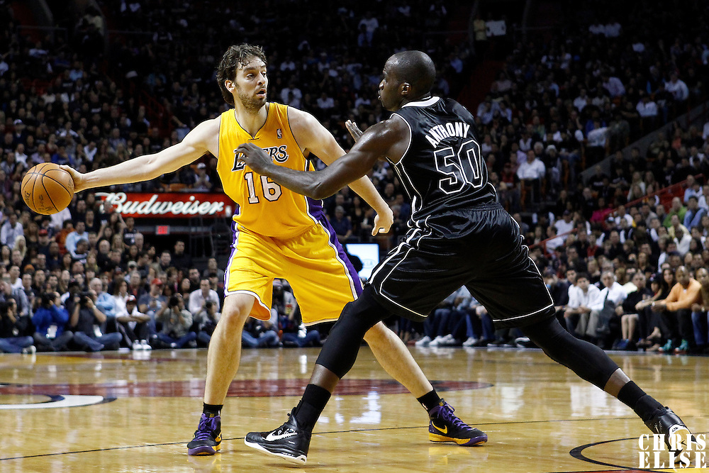 19 January 2012: Miami Heat center Joel Anthony (50) defends on Los Angeles Lakers power forward Pau Gasol (16) during the Miami Heat 98-87 victory over the Los Angeles Lakers at the AmericanAirlines Arena, Miami, Florida, USA.