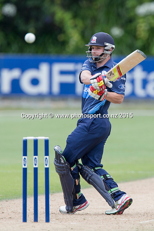 Aces` Brad Cachopa bats in the Auckland Aces v Otago Volts, One Day Ford Trophy Cricket Match, Eden Park, Auckland, New Zealand, Friday, January 02, 2015. Photo: David Rowland/Photosport