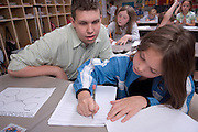 18906College of Education Students at Alexander Schools student teaching...Patrick Garrity teaches Laurel Doubrava's 3rd grade classroom..Ashley Goble