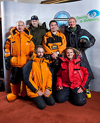 © Licensed to London News Pictures. FILE PIC DATED 17/09/2012. London, United Kingdom .Back L-R Brian Newham, Sir Ranulph Fiennes, Spencer Smirl and Ian Prickett (Ice Team).Front L-R Anton Bowring and Tristam Kaye (Support team on Ship and London HQ).Press call to announce Sir Ranulph Fiennes will be leading a team to take on the last remaining polar challenge by attempting to cross Antarctica. Sir Ranulph Fiennes is to be evacuated from the Antarctic after suffering severe frostbite during 2,400-mile expedition crossing the Antarctica.Photo credit : Chris Winter/LNP