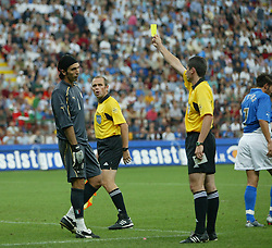 MILAN, ITALY - Saturday, September 6, 2003: Italy's goalkeeper Gianluigi Buffon is booked by referee Markus Merk during the Euro 2004 qualifying match at the San Siro Stadium. (Pic by David Rawcliffe/Propaganda)