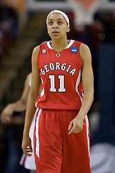 March 27, 2010; Sacramento, CA, USA; Georgia Bulldogs guard Meredith Mitchell (11) during the first half against the Stanford Cardinal in the semifinals of the Sacramental regional in the 2010 NCAA womens basketball tournament at ARCO Arena.  Stanford defeated Georgia 73-36.