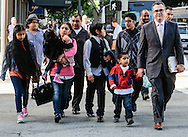 Immigrant Mario Vargas, center, and his family follow their lawyer Alex Galvez, right, walk cross the street to court after a news conference on Thursday, Feb. 9, 2017 in Los Angeles. Vargas attended his first removal hearing before an immigration judge since being released from Immigration Detention in 2014. He is accompanied by his daughter, Jersey, who, when she was 10, traveled to Rome three years ago and asked Pope Francis - one day before he was to meet with President Barack Obama - to intervene to prevent her father's deportation.  (Photo by Ringo Chiu/PHOTOFORMULA.com)<br /> <br /> Usage Notes: This content is intended for editorial use only. For other uses, additional clearances may be required.