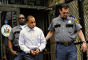 Caleb Lacey , 20, a volunteer fighter who  was convicted of torching a blaze in a bid to be a hero that ended up killing a mother and three of her children is escorted from Criminal Court after being  sentenced in Criminal Court in Mineola, NY. (AP Photo/Kathy Kmonicek)