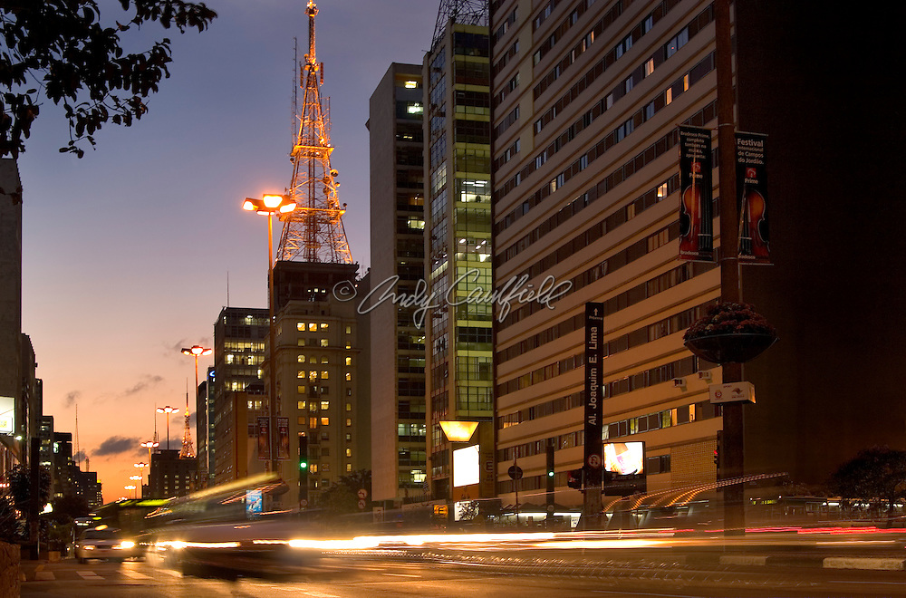 Paulista Ave. at dusk during rush hour traffic..SAO PAULO, BRAZIL