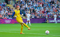COVENTRY, ENGLAND - Friday, August 3, 2012: Canada's Goalkeeper Erin Mcleod during the Women's Football Quarter-Final match between Great Britain and Canada, on Day 7 of the London 2012 Olympic Games at the Rioch Arena. Canada won 2-0. (Photo by David Rawcliffe/Propaganda)