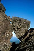 Keyhole Rocks on Ptarmigan Trail on Monitor Ridge on Way to Summit of Mt. St. Helens, Mt. St. Helens National Volcanic Monument, Washington, US