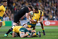 SYDNEY, NSW - AUGUST 18: Australian player Lukhan Tui (6) hit in a big tackle from New Zealand player Liam Squire (6) at the Bledisloe Cup rugby test match between Australia and New Zealand at ANZ Stadium in Sydney on August 18, 2018. (Photo by Speed Media/Icon Sportswire)