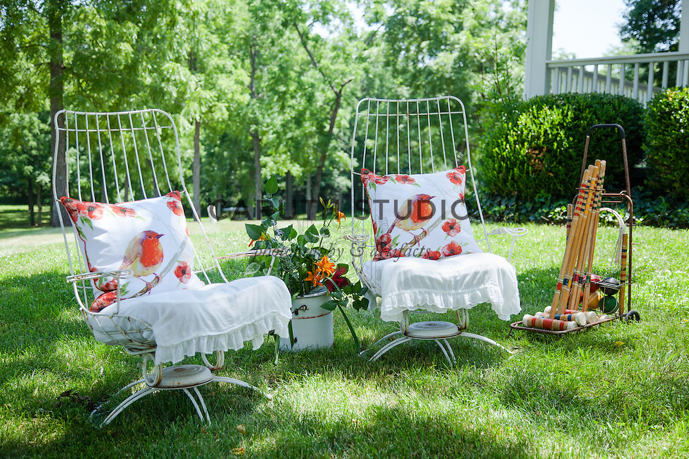 Ice Cream Social: Vintage lawn chairs and croquet set