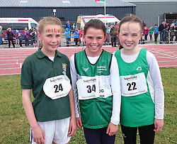 Girls U12 600 metres at the Mayo Community Games, 2nd Clodagh McDermott Quay, 1st Ava Flynn Castlebar Community Games and 3rd Katie O'Grady Westport Community Games.<br />