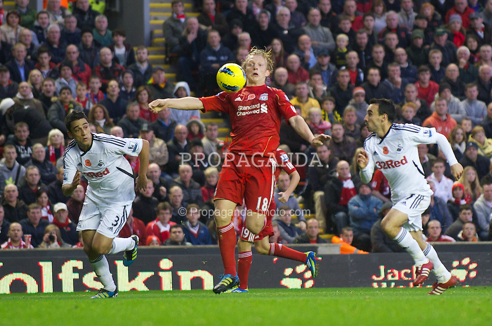 LIVERPOOL, ENGLAND - Saturday, November 5, 2011: Liverpool's Dirk Kuyt in action against Swansea City during the Premiership match at Anfield. (Pic by David Rawcliffe/Propaganda)
