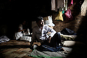 Habi Noor , 20, lives in the camps . His best friend died in his arms , executed by the police on the day of ethnic cleansing in Nazir district ..<br />ittwe, Myanmar July 2016 @Giulio Di Sturco