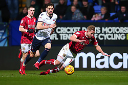 Gustav Engvall of Bristol City is fouled by Dorian Dervite of Bolton Wanderers - Mandatory by-line: Robbie Stephenson/JMP - 02/02/2018 - FOOTBALL - Macron Stadium - Bolton, England - Bolton Wanderers v Bristol City - Sky Bet Championship