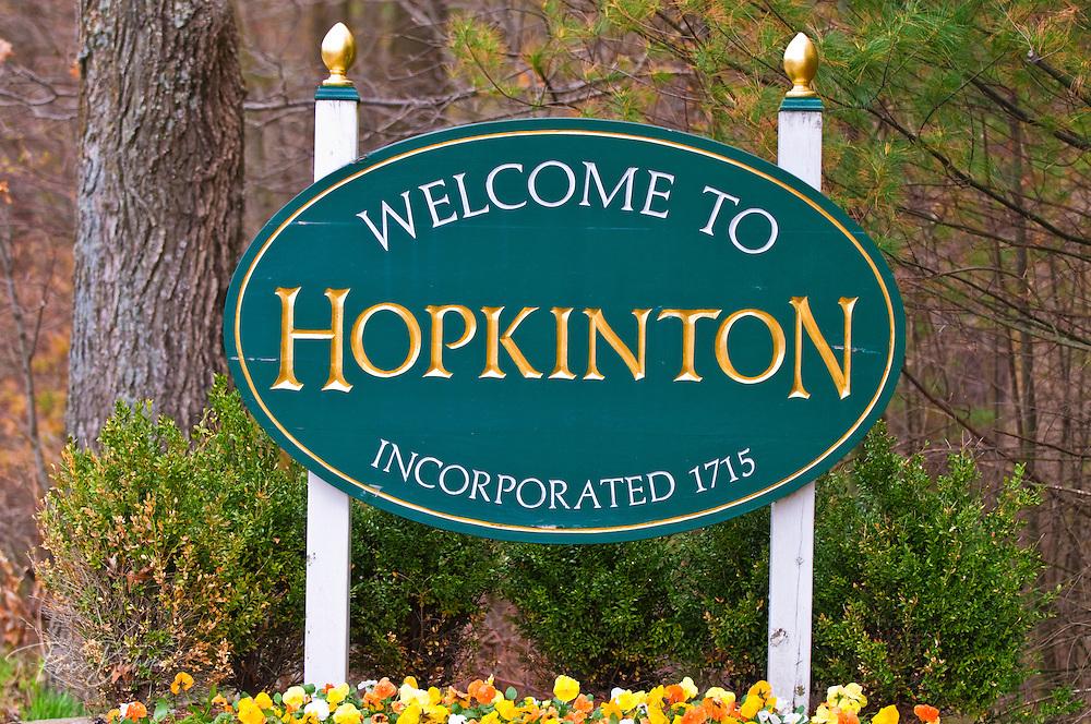 Town welcome sign, Hopkinton, Massachusetts