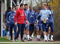 Football - England Training<br /> Arsenal's emergency goal keeper Jens Lehman chats to Joe Hart of England at London Colney, UK
