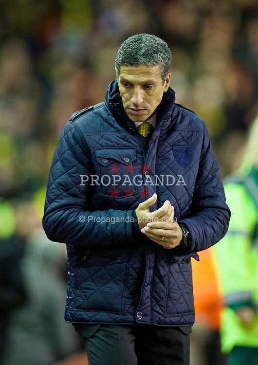 LIVERPOOL, ENGLAND - Wednesday, December 4, 2013: Norwich City's manager Chris Hughton before the Premiership match against Liverpool at Anfield. (Pic by David Rawcliffe/Propaganda)