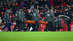 Crystal Palace manager Roy Hodgson checks Yohan Cabaye of Crystal Palace after he is stretchered off the pitch.  - Mandatory by-line: Alex James/JMP - 20/01/2018 - FOOTBALL - Emirates Stadium - London, England - Arsenal v Crystal Palace - Premier League