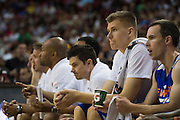 Kristaps Porzingis #46 of the New York Knicks looks on against the San Antonio Spurs during an NBA Summer League game in Las Vegas, Nevada on July 11, 2015. (Cooper Neill for The New York Times)