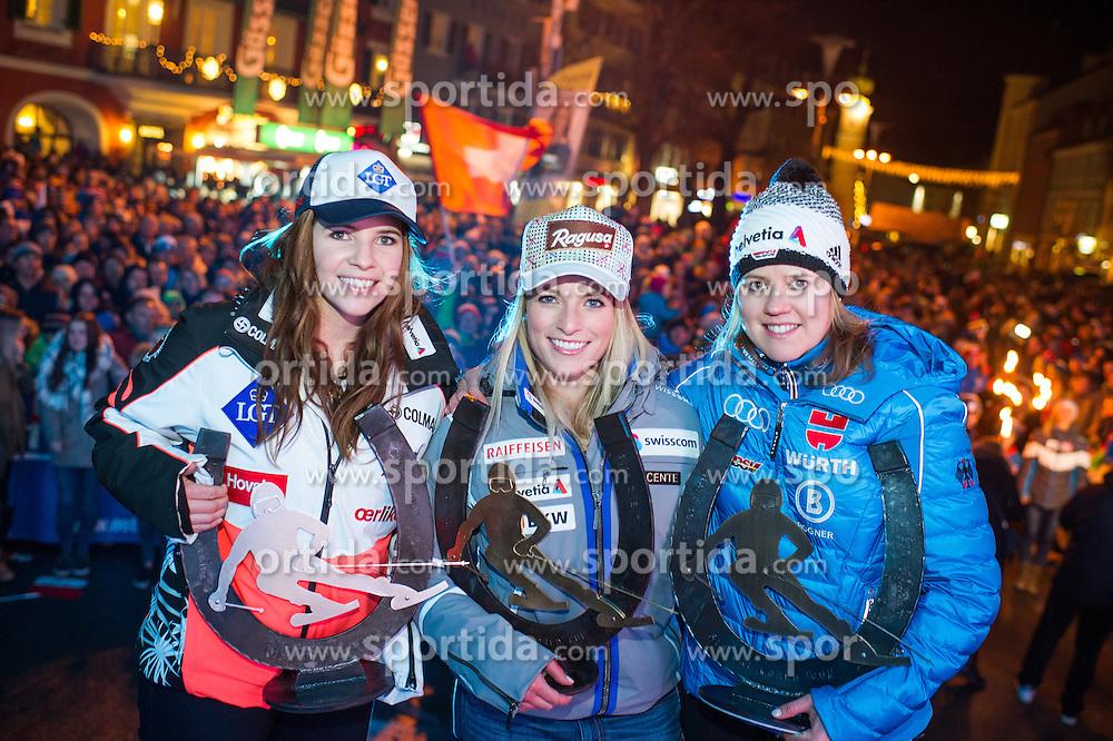 28.12.2015, Hauptplatz, Lienz, AUT, FIS Ski Weltcup, Lienz, Siegerehrung Riesenslalom und Startnummernauslosung Slalom, im Bild TEXT during winning ceremony of ladies Giant Slalom and BIP number draw of the slalom of the Lienz FIS Ski Alpine World Cup at the Hauptplatz in Lienz, Austria on 2015/12/28. EXPA Pictures © 2015, PhotoCredit: EXPA/ Michael Gruber