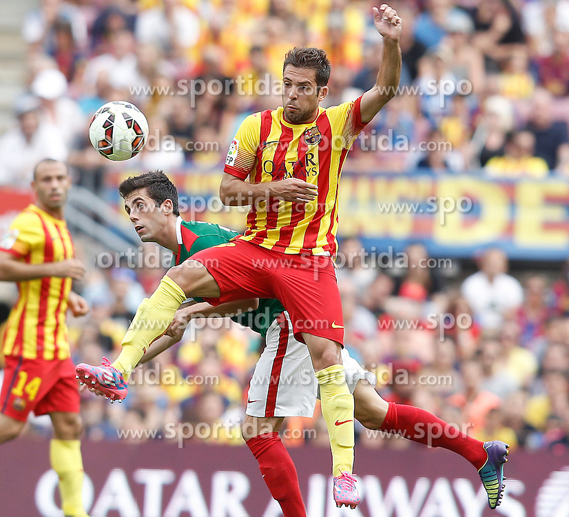 13.09.2014, Camp Nou, Barcelona, ESP, Primera Division, FC Barcelona vs Athletic Club Bilbao, 3. Runde, im Bild FC Barcelona's Jordi Alba (r) and Atletic de Bilbao's Markel Susaeta // during the Spanish Primera Division 3rd round match between FC Barcelona and Athletic Club Bilbao at the Camp Nou in Barcelona, Spain on 2014/09/13. EXPA Pictures &copy; 2014, PhotoCredit: EXPA/ Alterphotos/ Acero<br /> <br /> *****ATTENTION - OUT of ESP, SUI*****