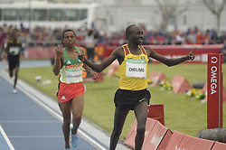 October 11, 2018 - Buenos Aires, Buenos Aires, Argentina - OSCAR CHELIMO of Uganda crosses the line to win the Men's 3000m Stage 1 on Day 5 of the Buenos Aires 2018 Youth Olympic Games at the Olympic Park. (Credit Image: © Patricio Murphy/ZUMA Wire)
