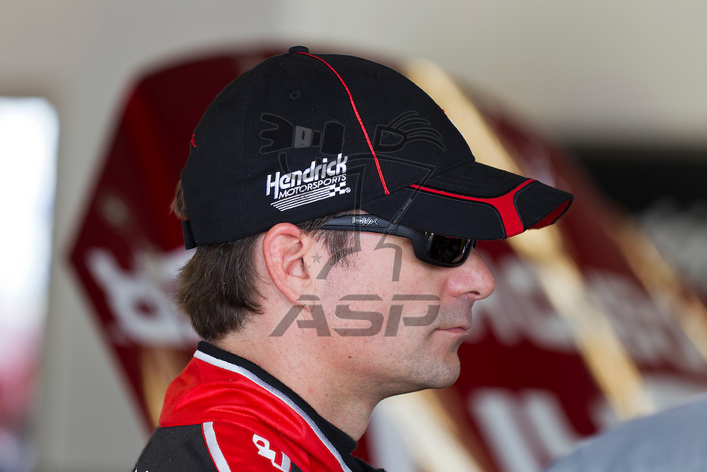 Daytona Beach, FL - Feb 18, 2012:  Jeff Gordon (24) talks to his crew before a practice session for the Daytona 500 at the Daytona International Speedway in Daytona Beach, FL.