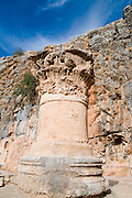 Corinthian Capital from the Temple of Zeus in Caesarea Philippi 98 BCE. Hermon Stream Nature reserve and Archaeological Park (Banias) Golan Heights Israel