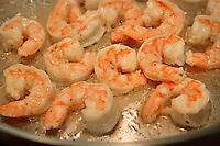 Fresh caught NC shrimp sautéing in bacon fat.